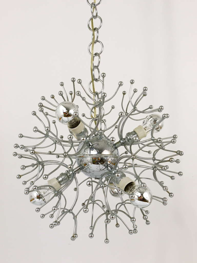 Metal Two Mid-Century Chrome-Plated Sputnik Blowball Chandeliers, Italy, 1960s For Sale