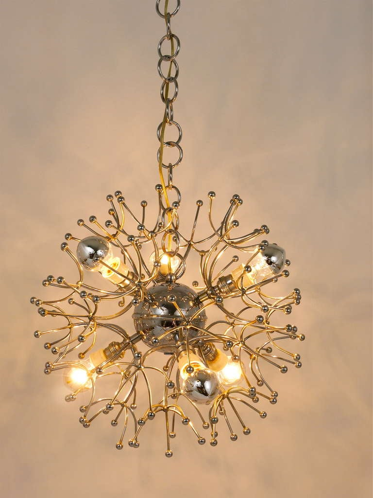 Two Mid-Century Chrome-Plated Sputnik Blowball Chandeliers, Italy, 1960s For Sale 2