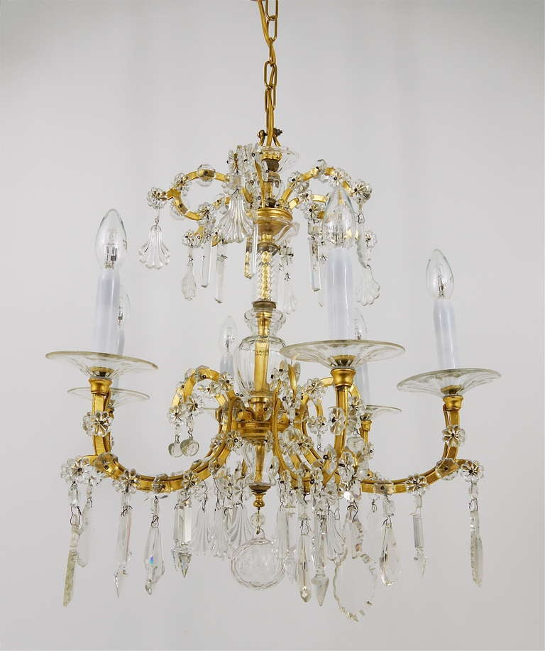 Austrian Gilt Lobmeyr Vienna Baroque Crystal Glass Chandelier from the 1940s For Sale