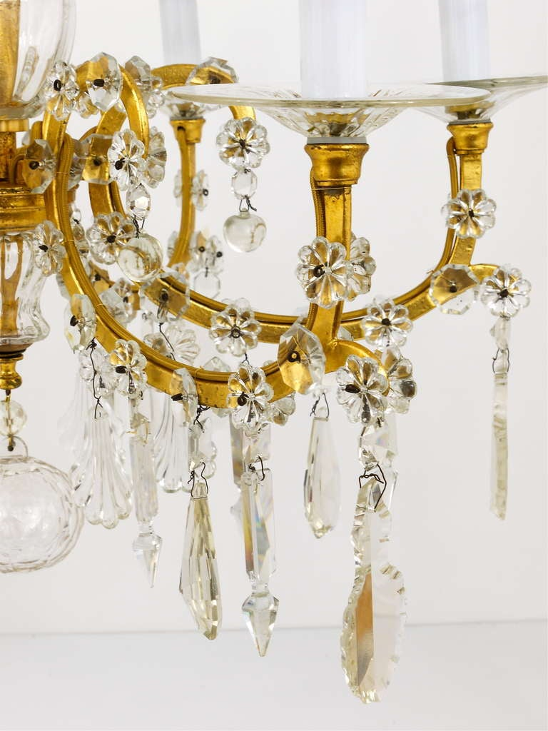 Mid-20th Century Gilt Lobmeyr Vienna Baroque Crystal Glass Chandelier from the 1940s For Sale