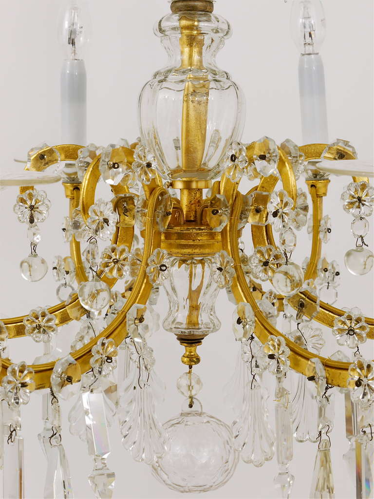 Gilt Lobmeyr Vienna Baroque Crystal Glass Chandelier from the 1940s For Sale 1