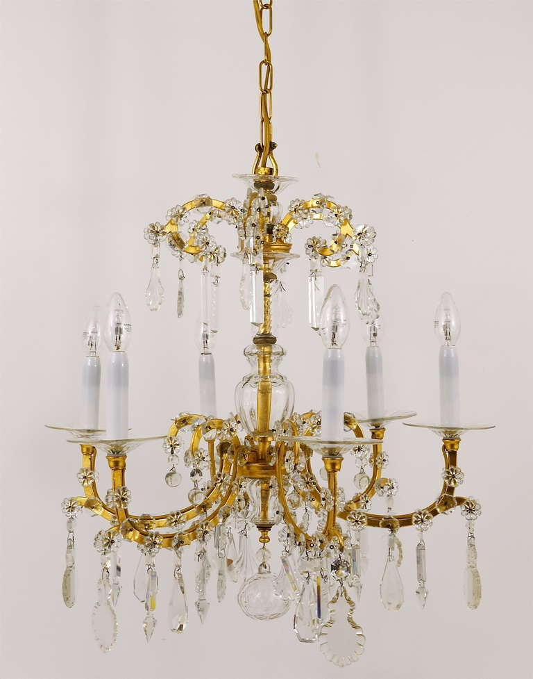 Gilt Lobmeyr Vienna Baroque Crystal Glass Chandelier from the 1940s For Sale 3