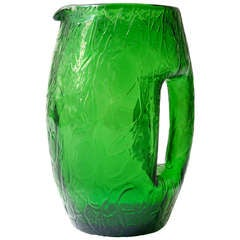 Koloman Moser Art Nouveau Green Glass Pitcher by Loetz around 1900