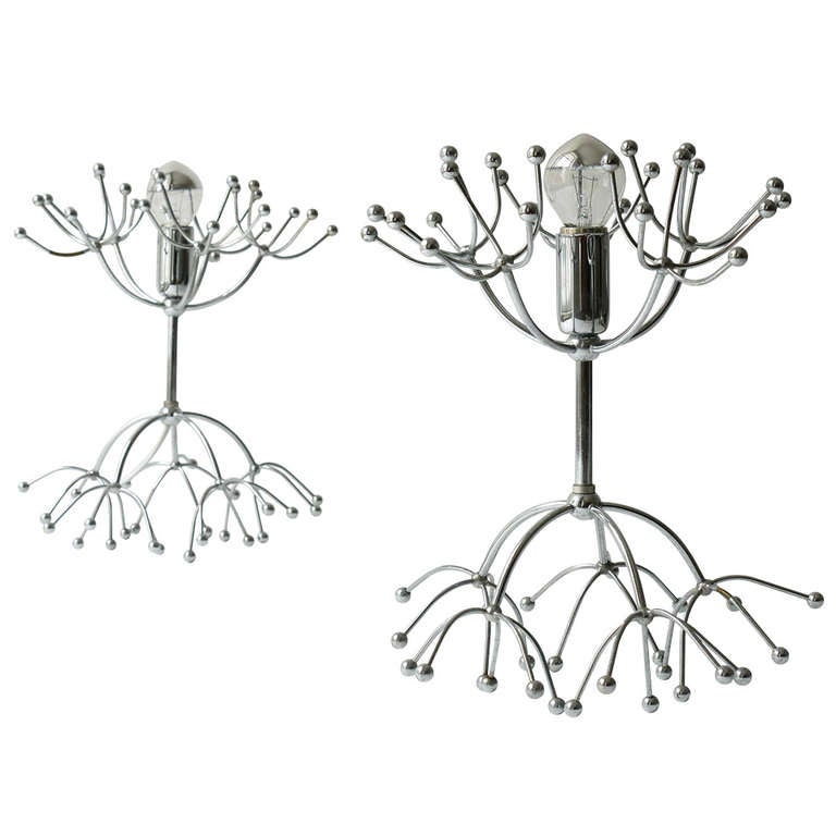 pair italian sputnik side lamps table lamps from the 1960