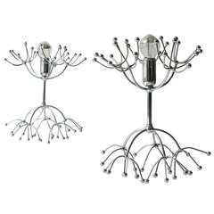 Pair Mid-Century Chrome Sputnik Side Lamps Table Lamps, Italy, 1960s