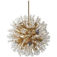 Gold-Plated Blowball Sputnik Chandelier in the Manner of Emil Stejnar Rupert