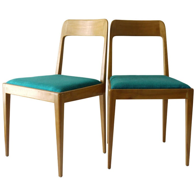 Pair Of Carl Aubock Modernist Wooden Chairs A7 With Green Fabric Upholstery F