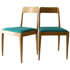 Pair of Carl Auböck Modernist Wooden Chairs A7 with Green Fabric Upholstery