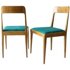 Pair of Carl Aubock Modernist Wooden Chairs A7 with Green Fabric Upholstery