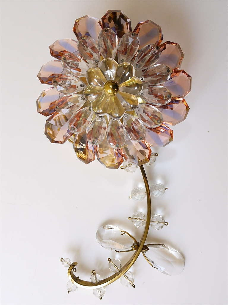 Glass Wall Sconces For Flowers : Floral Lobmeyr Vienna Crystal Glass Flower Sconces Wall Lights at 1stdibs