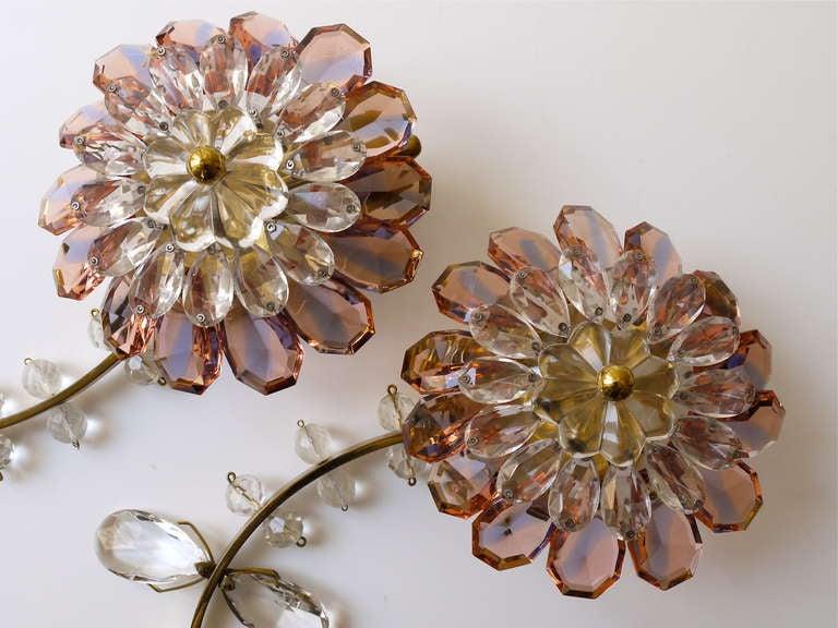 Floral Lobmeyr Vienna Crystal Glass Flower Sconces Wall Lights at 1stdibs
