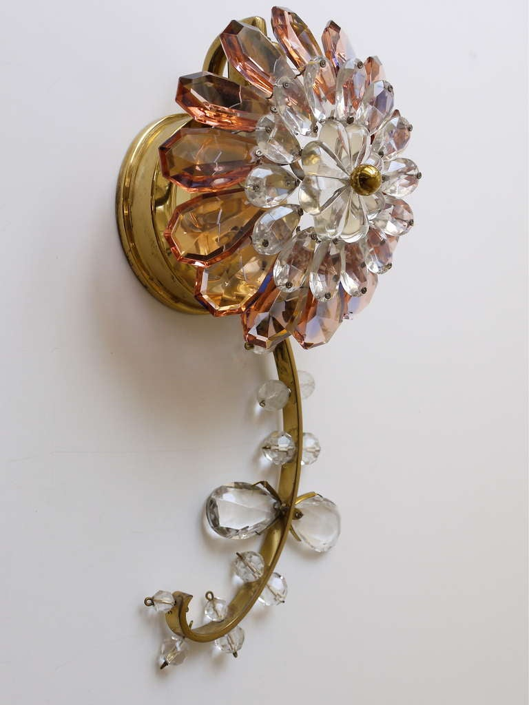 Floral Lobmeyr Vienna Crystal Glass Flower Sconces Wall Lights at 1stdibs