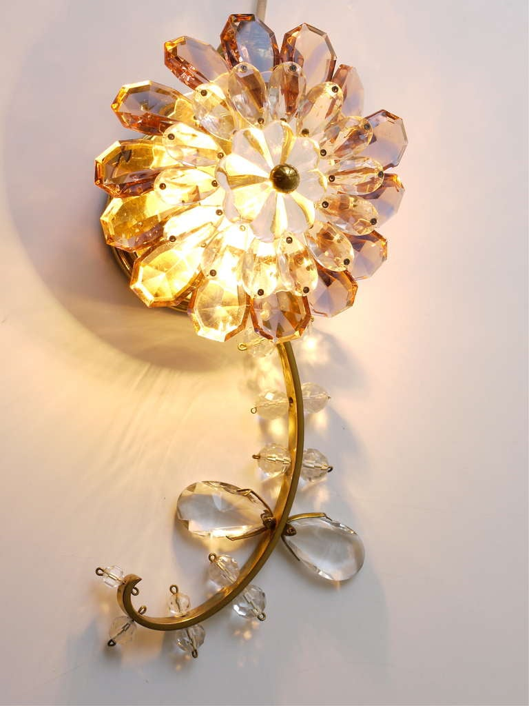 Wall Sconces With Flowers : Floral Lobmeyr Vienna Crystal Glass Flower Sconces Wall Lights at 1stdibs