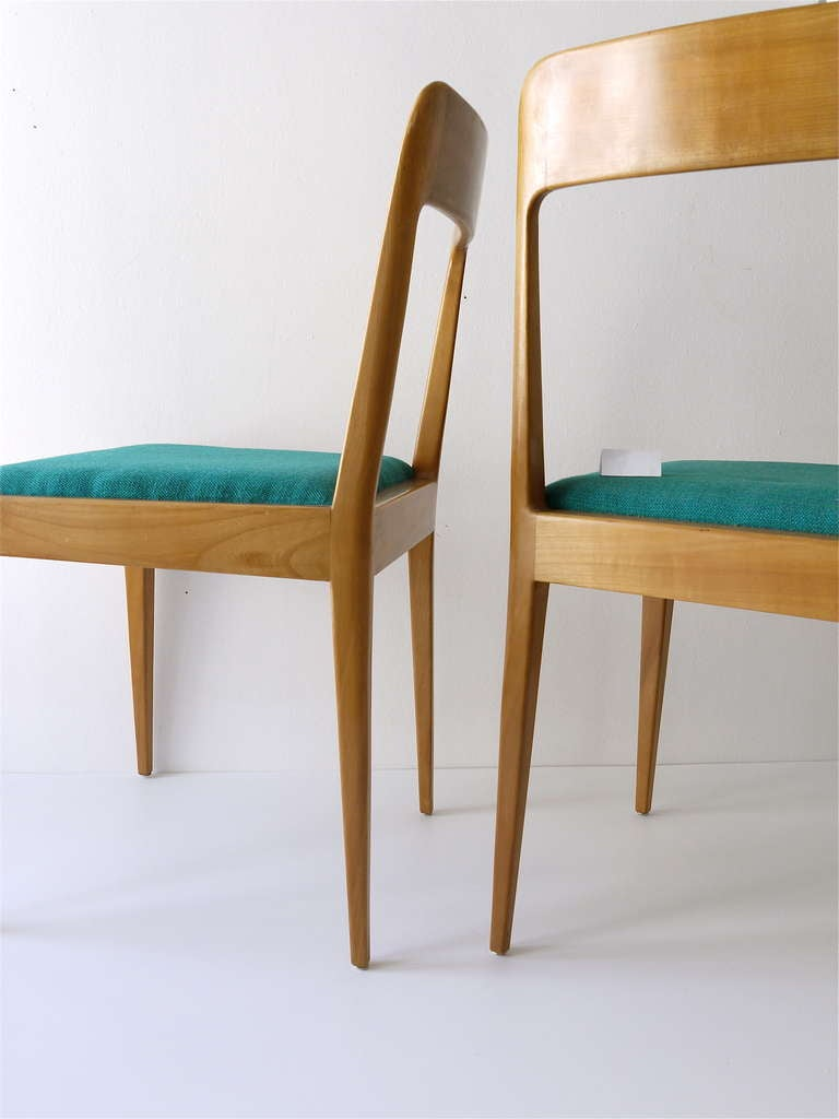 Wooden chairs with armrest - Pair Of Carl Aubock Modernist Wooden Chairs A7 With Green Fabric Upholstery 3