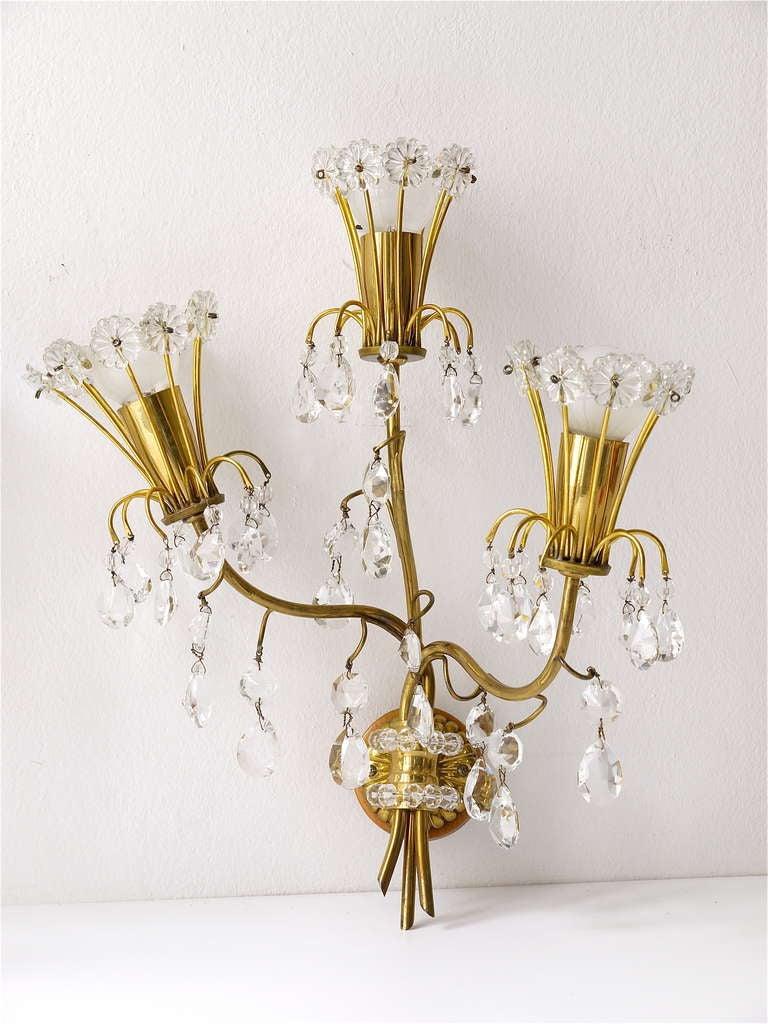 Floral Lobmeyr Mid Century Crystal Sconces Wall Lights