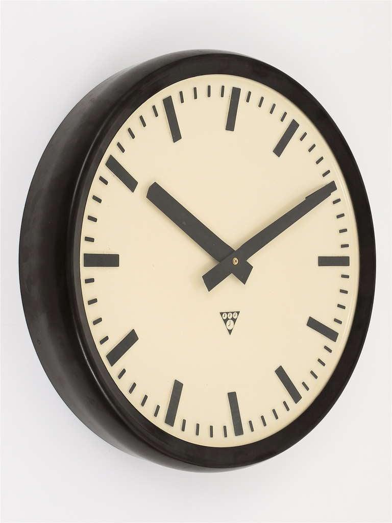 Mid-20th Century Very Big Bakelite Industrial Train Station Wall Clock