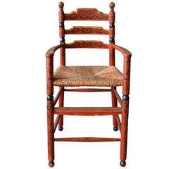 Dutch Folk Art 19th Century Hindeloopen Ladder Back