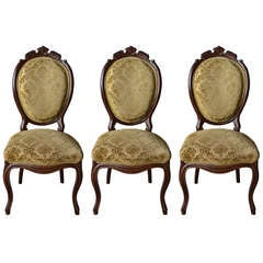 Set of Three 19th Century Black Forest Mahogany Side Chairs