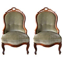 Set of Two 19th Century German Rosewood Nursing or Slipper Chairs