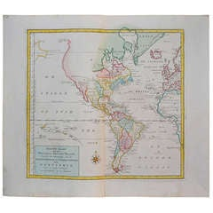 Colored Copper Engraving of the American Continent, 1754