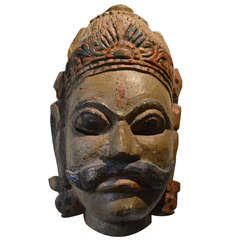 Large Wooden Polychrome Mask, India, circa 1920
