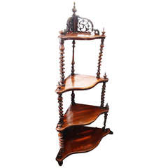 19th Century Four-Tier, Mahogany Etagere or Whatnot with Barley Twist Uprights