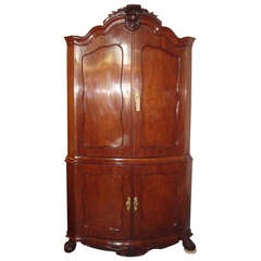 18th Century Dutch Solid Mahogany Corner Cabinet, 1770-1790
