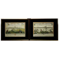 Dordrecht & Gorinchem, Hand-Colored Framed City Views by Johann Chr. Leopold