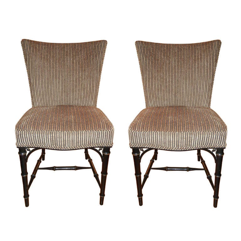 Four  Regency Style Ebony Bamboo Upholstered Dining Chairs 1