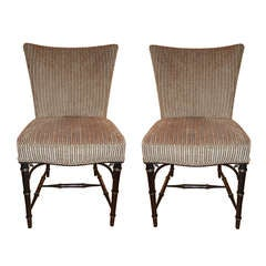 Four  Regency Style Ebony Bamboo Upholstered Dining Chairs
