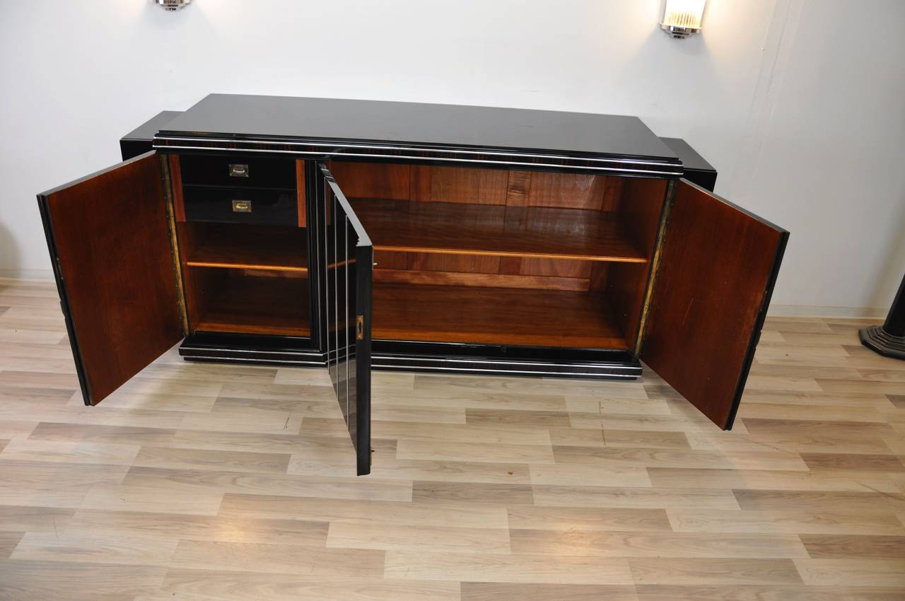 Large Art Deco Sideboard With Wood Trim At 1stdibs