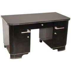 Black Pianolacquer Art Deco Desk