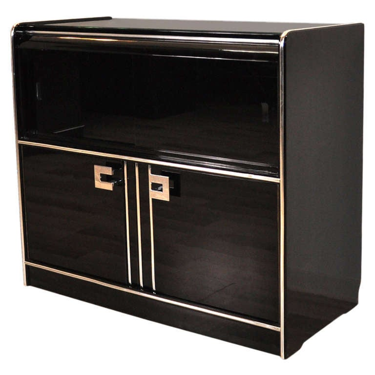 Elegant Art Deco Dresser With Sliding Glass Doors At 1stdibs