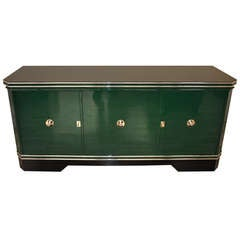 Large Art Deco Sideboard in Racing Green