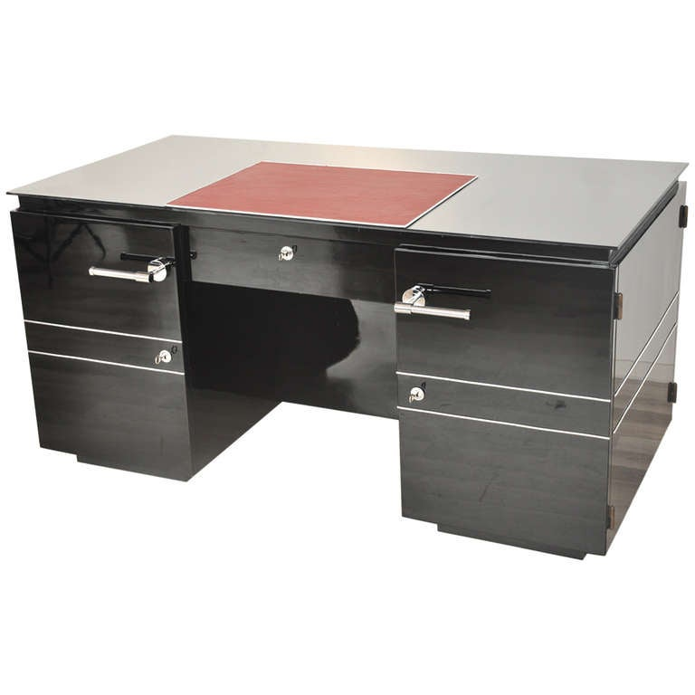 French Art Deco Desk with Red Interior