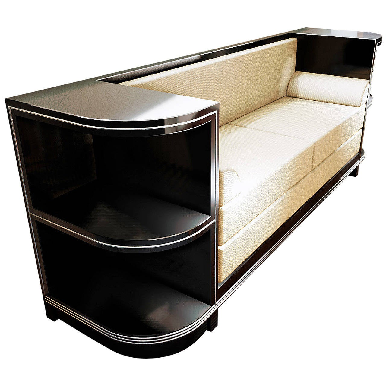 chromeliner art deco sofa at 1stdibs. Black Bedroom Furniture Sets. Home Design Ideas