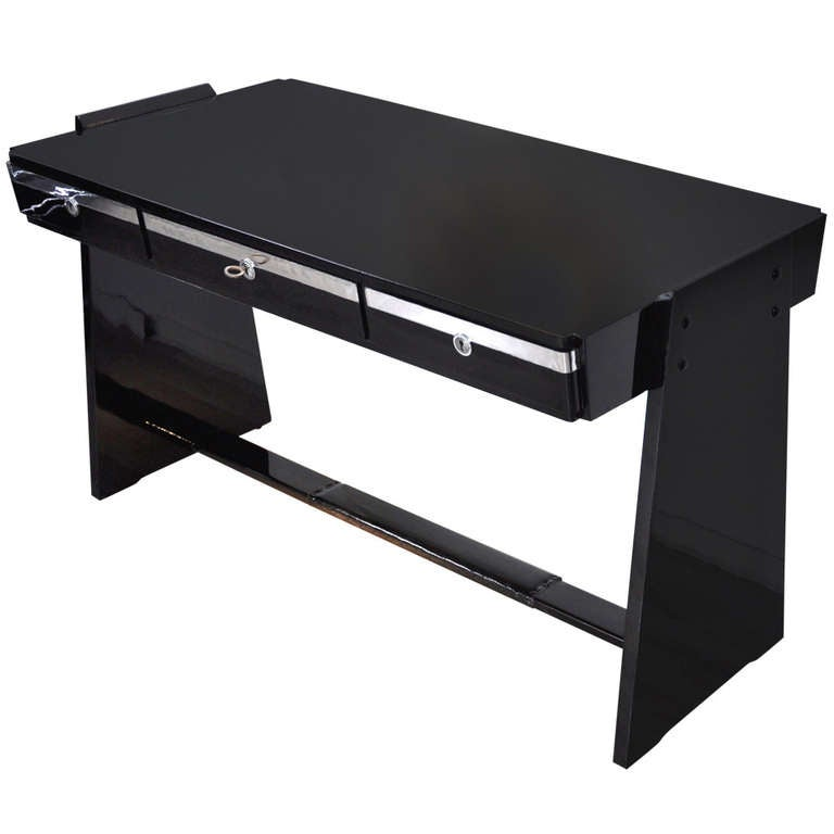 Bauhaus Desk In High Gloss Black For Sale At 1stdibs