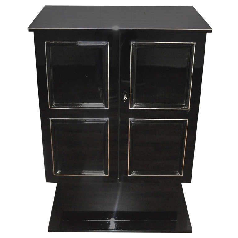 Petite Art Deco Cabinet/Bar with High Gloss Black Finish For Sale