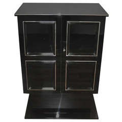 Petite Art Deco Cabinet/Bar with High Gloss Black Finish