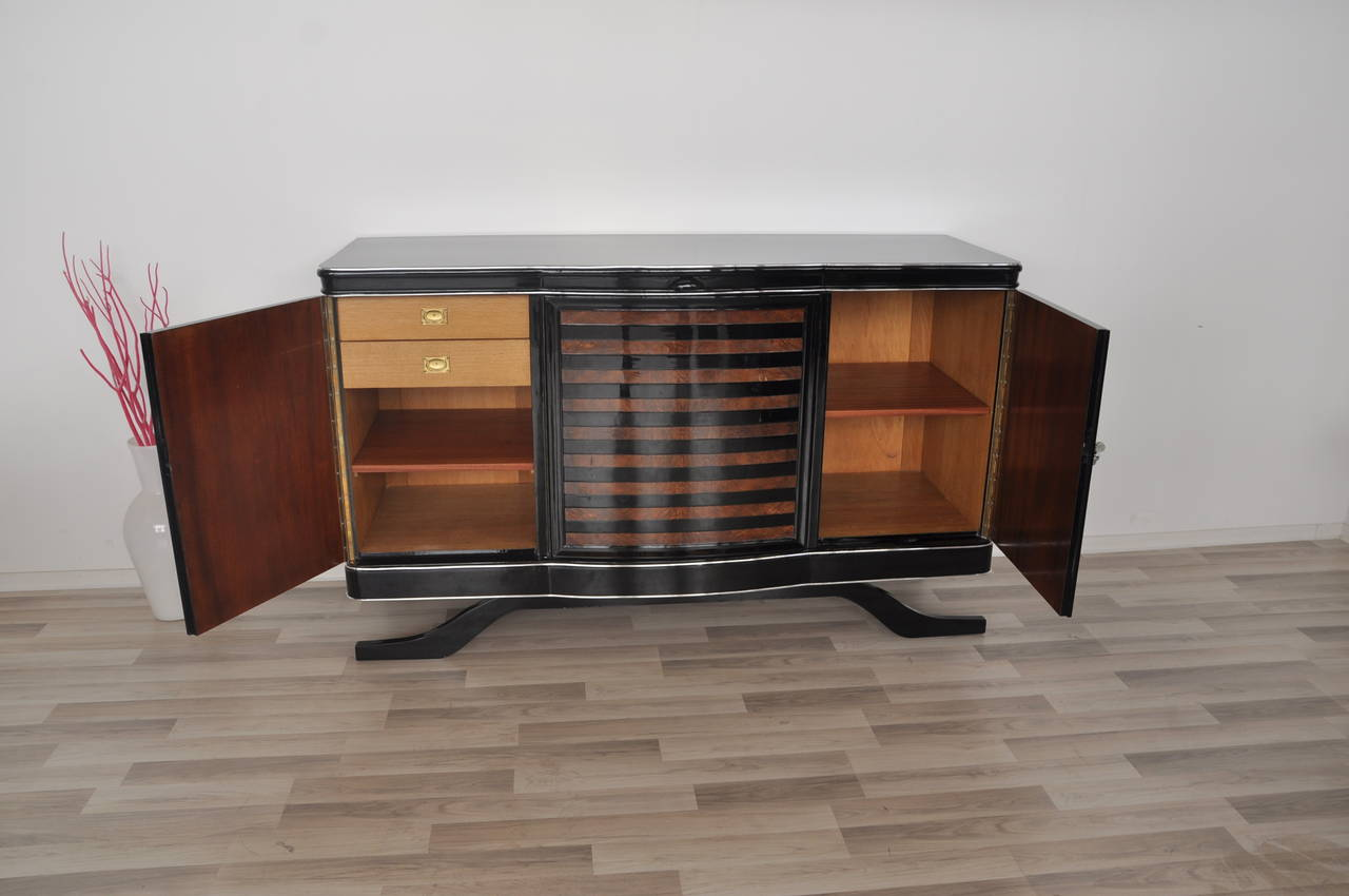 Art Deco Sideboard With Banded Walnut Veneer At 1stdibs