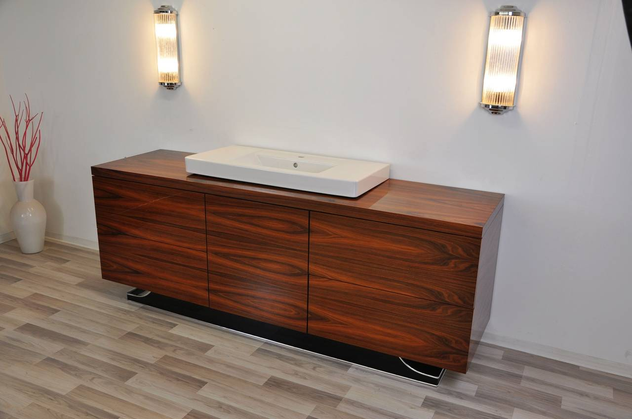 Elegant Extra Large Art Deco Bathroom Furniture Made Of Jacaranda For Sale At