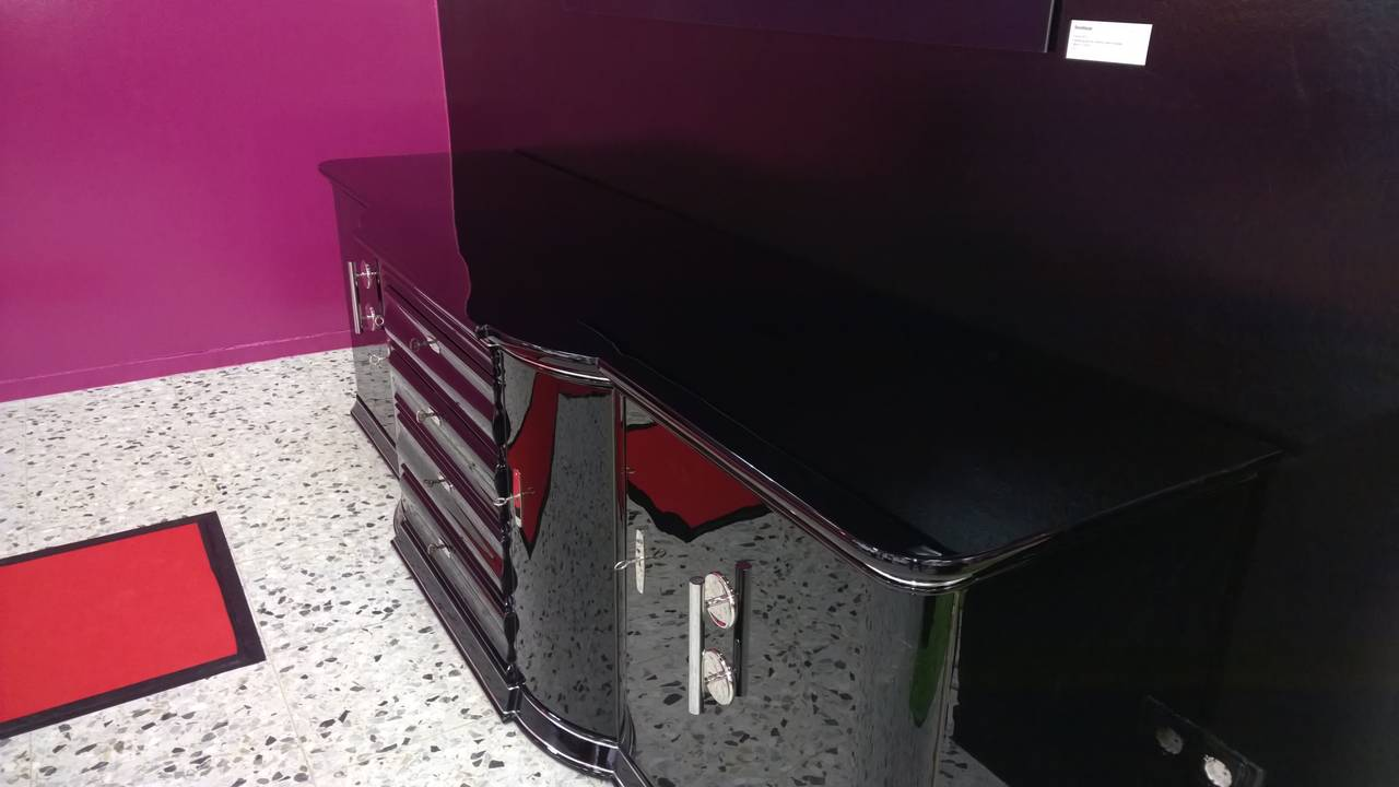 Extra Large Art Deco Sideboard In High Gloss Black For