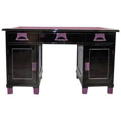 Art Deco Ladies Desk Black / Lilac