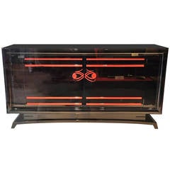 Art Deco Sideboard with Red Ornaments