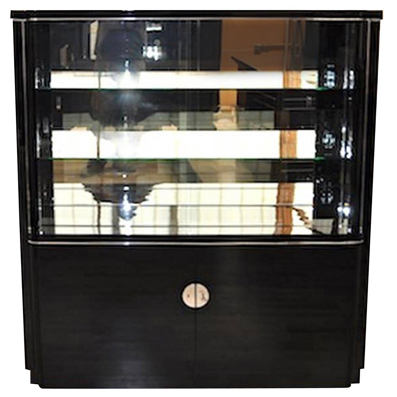 Art Deco Display Cabinet with a Groove and Lighting