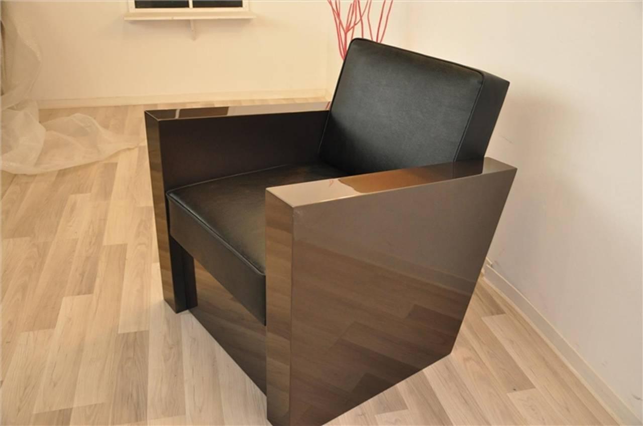Art Deco Stil Sessel in dunklem Silber 2