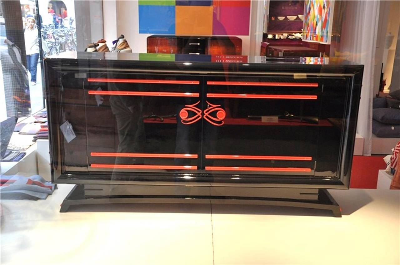 art deco sideboard with red ornaments for sale at 1stdibs