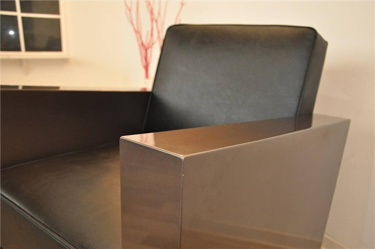 Art Deco Stil Sessel in dunklem Silber 3
