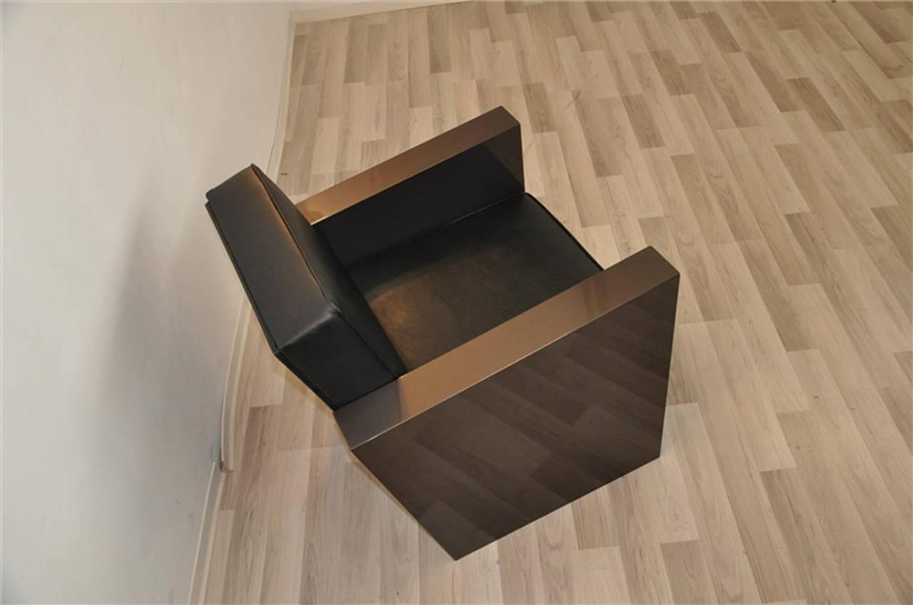 Art Deco Stil Sessel in dunklem Silber 5