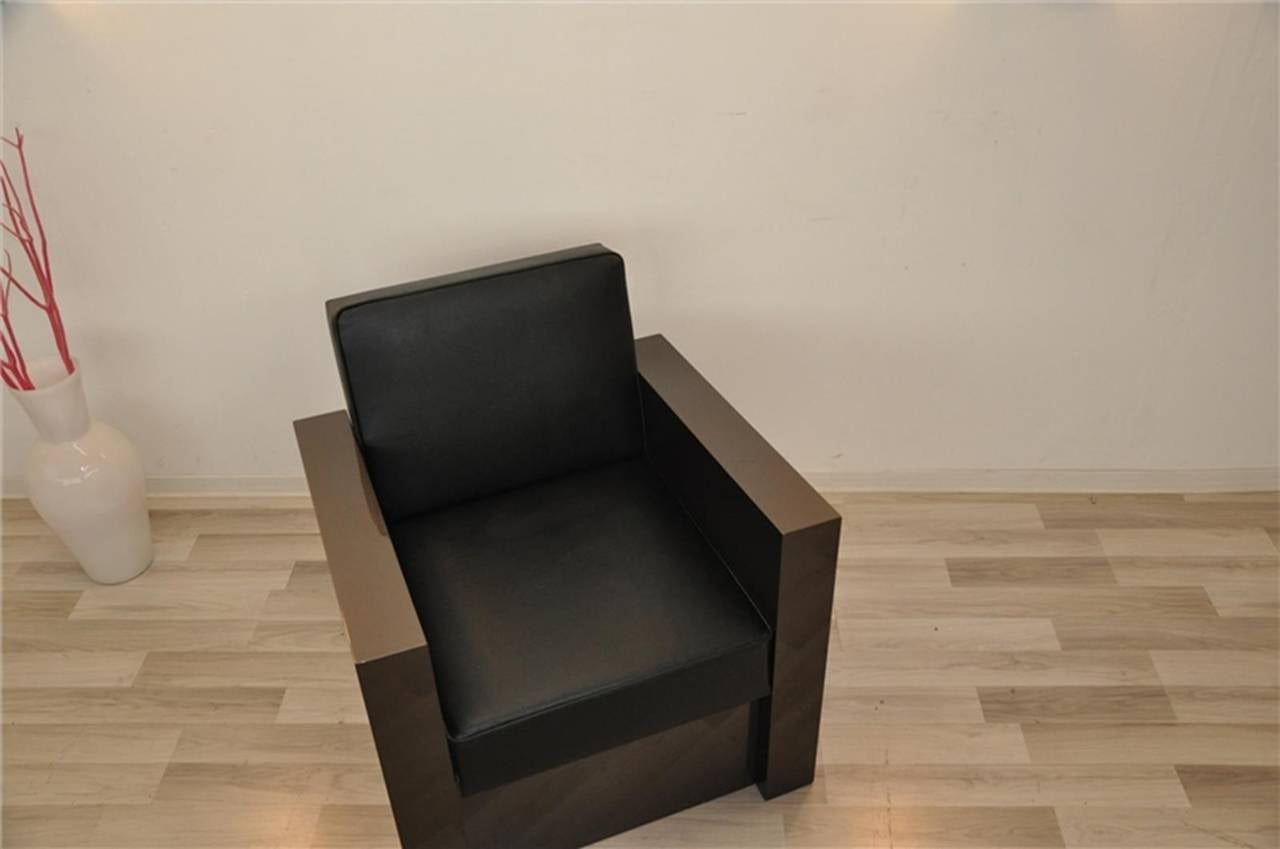 Art Deco Stil Sessel in dunklem Silber 8